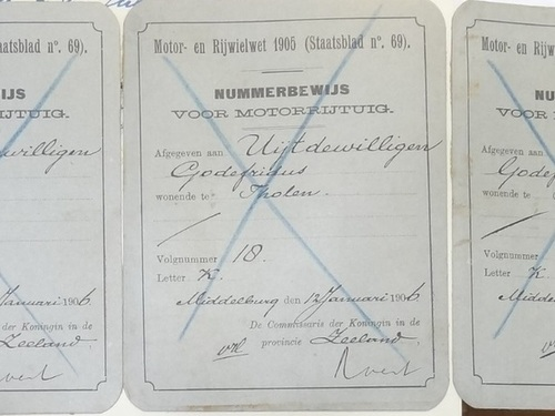 3 Duplicaten Nbw K-18, teruggestuurd n.a.v. brief juli 1919 (ZA, foto BE)